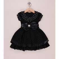Vestido Luxuoso Para Festa Infantil Preto