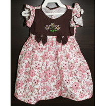 Vestido Infantil Florido Rosa Marrom Até 1 Ano