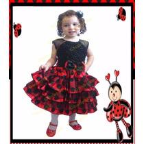 Vestido Fantasia Infantil Joaninha - Tema Jardim Encantado