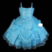 Vestido Infantil Azul Princesa Flores - Pronta Entrega