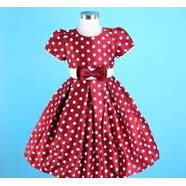 Vestido Infantil Festa/princesa/dama Bolinhas De Manguinha