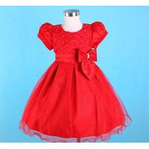 Vestido Infantil Festa/ Dama/florista Vermelho Com Paetês