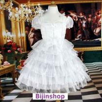 Vestido Infantil Festa/princesa/daminha Branco Brilhante