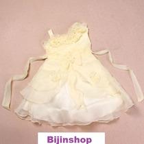 Vestido Infantil Festa/princesa Bela Amarelo Com Rosas