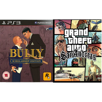 Bully + Gta San Andreas - Classico Ps2 P/ Ps3 Midia Digital