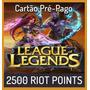 League Of Legends Lol - 2500 Riot Points Rp - Envio Na Hora