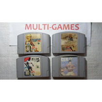 Lote Com 4 Jogos De Futebol Para Nintendo 64 - Originais