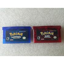 Gba: Pokemon Ruby + Pokemon Sapphire Originais Americanos!!