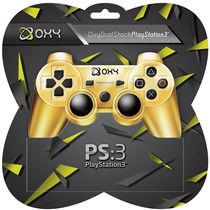Controle Ps3 Oxy Sem Fio Ouro Metálico