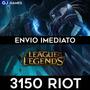 League Of Legends Lol - 3150 Riot Points Rp Br - Imediato