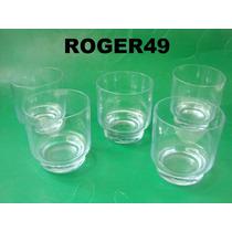 5 Copos P/ Agua Whisky Vidro Transparente Azul Claro Cchic