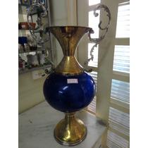 #8177# Ânfora Azul Cobalto Com Metal, Antiga!!!