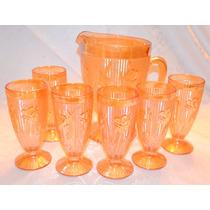 Conjunto 7 Pcs Antiga Jarra E Copos Carnival Glass