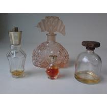 Conjunto De Vidros De Perfumes Antigos - Década De 50