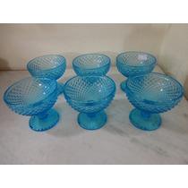 #12514 - Jogo 6 Taças Sobremesa, Bico Jaca Azul Claro!!!