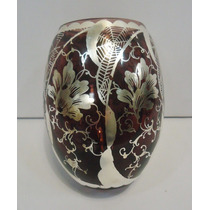 Antigo Vaso Floreiro Em Vidro Todo Decorado Em Prata Pintado
