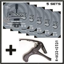 Capo Braçadeira + 5 Sets Violão 12 Cordas 010 Groove Gs4b12