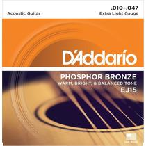 Encordoamento Violão 010 Daddario Ej15 Aço Phosphor Bronze