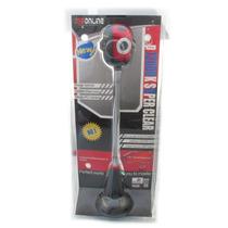 Webcam Usbonline Vermelha Com Preto Haste Flexivel A2804