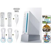 Nintendo Wii Original Destravado + 6 Controles + 3 Jogos