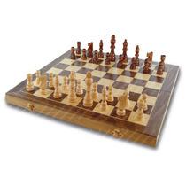 Jogo De Xadrez Dama E Gamão Madeira Dobrável 39x39cm E Peças