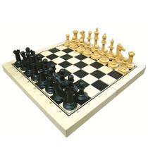 Jogo Xadrez Escolar Carlu C/ 32 Peças Tabuleiro Em Mdf 1167