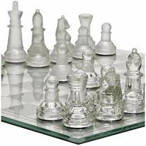 Jogo De Xadrez Tabuleiro E Peças Em Vidro 25 X 25cm S2013