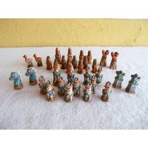 Peças Xadrez Terracota Pintado À Mão Incas X Espanhóis