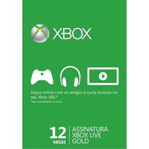 Xbox 360 12 Meses Assinatura Xbox Live Gold Brasil Ou Usa