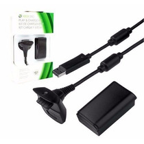 Bateria + Cabo Carregador De Controle/joystick Xbox360 Preta
