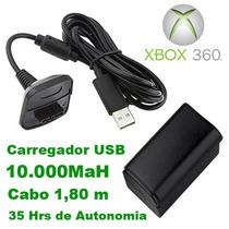 Kit Bateria Com Cabo Carregador Controle Xbox 360 10000mah