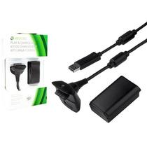 Kit Carregador E Bateria Pra Controle Xbox360 28000 Mha