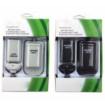 Kit Carreg. E Bateria Recarreg. 4800mah Xbox360 Preto/branco