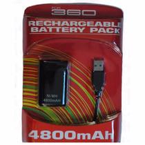 Kit Bateria Recarregável Para Controle Xbox 360 4800mah Pret