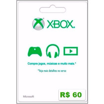 Microsoft Gift Card 60 Reais Cartão Presente Xbox Live Br