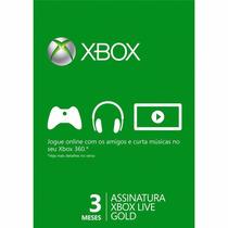 Cartão Xbox Live Gold 3 Meses - Xbox 360 E Xbox One