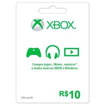 Cartão Microsoft Points Xbox Live Brasil De R$10 Reais