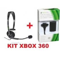 Kit Xbox360 C/bateria 28.000mah+fone Original Microsoft S/j