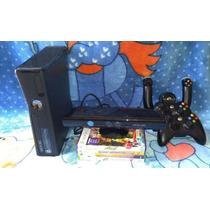 Xbox 360 + Kinect + 2 Controle S/ Fio + Volante+ 4 Jogo