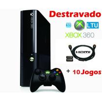 Xbox 360 S. Slim 4gb Ltu + 3.0 + 10 Jogos+ Joga Na Live