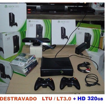 Xbox 360 Hd 320gb Desloqd 2 Controles S/fio Kit Bater Kinect