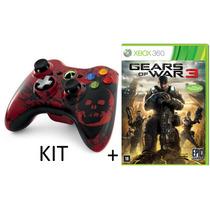 Kit Controle Xbox 360 Sem Fio Wireless + Jogo Gears Of War 3