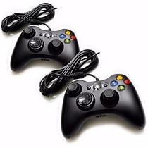 Kit 2 Controle Xbox 360 Original Pc Notbook Com Fio Joystick