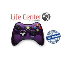 Controle Xbox 360 Sem Fio Chrome Series Purple Roxo