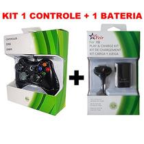 Kit 1 Controle Com Fio + 1 Carregador Bateria Xbox 360 Slim