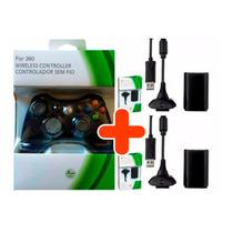 Controle Xbox 360 Sem Fio + 2 Baterias Carregador 24.000 Mah