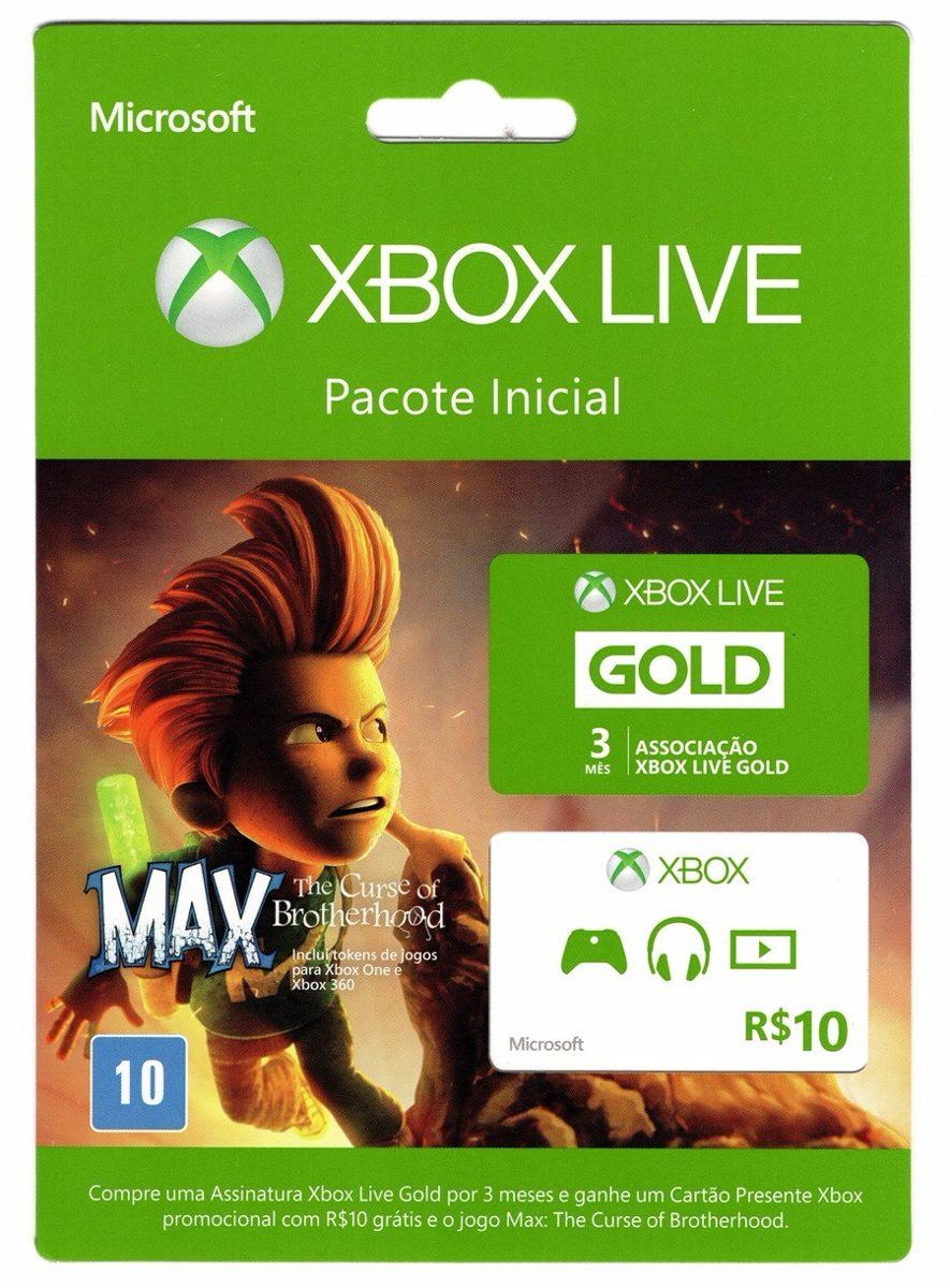 Xbox Live Gold 3 Meses+ Gift Card R$10 + Jogo Grátis Max ...