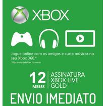 Xbox Live Gold Us Br Eu - 12 Meses De Assinatura - Imediato!