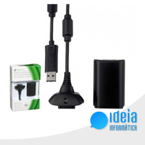Kit Bateria Recarregável E Cabo P/ Controle Xbox 360