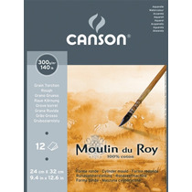 Bloco Papel Aquarela Algodão Canson Moulin Du Roy 30x40cm Tt